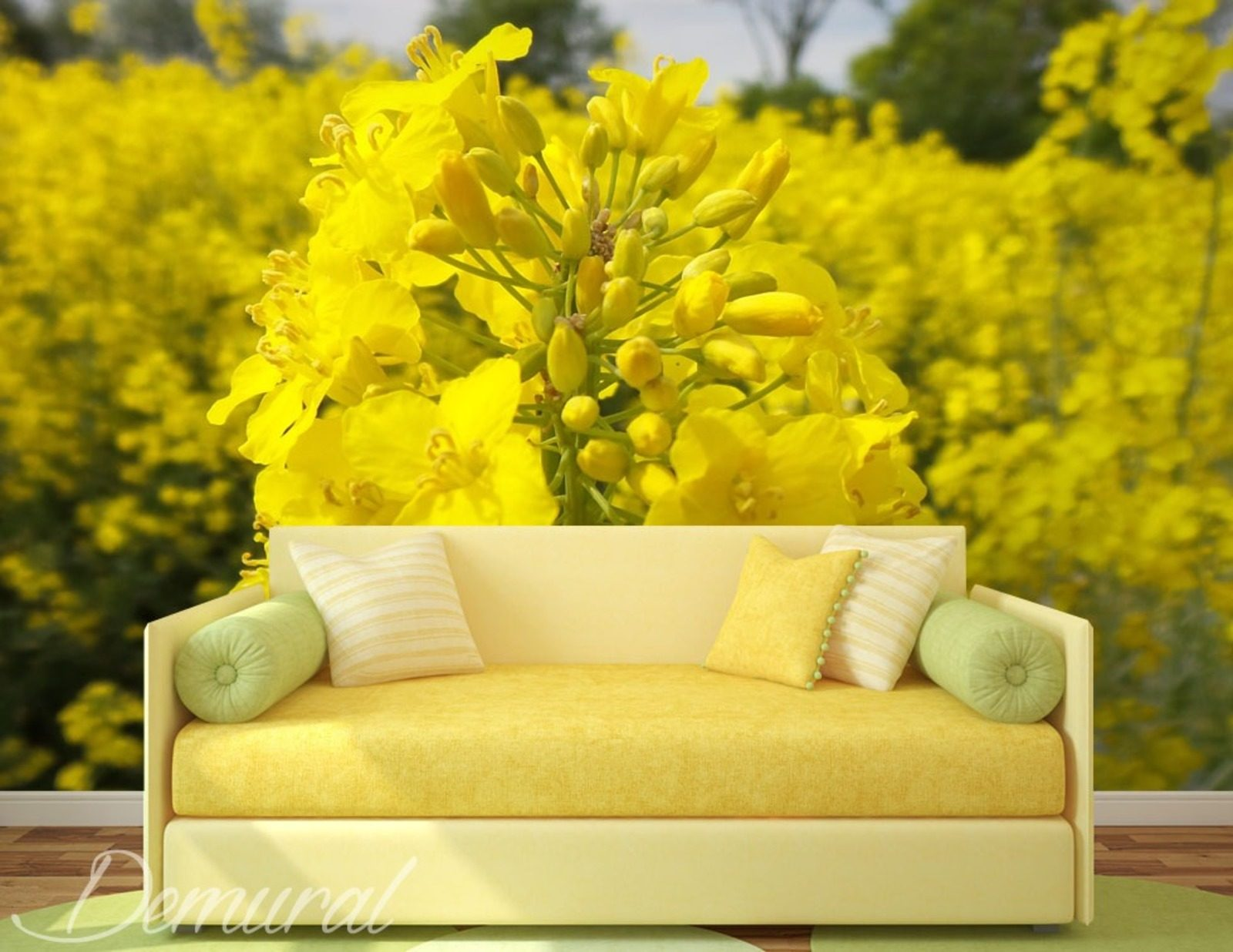 Rapeseed field flowers wallpaper mural photo - Flower wallpaper mural ...
