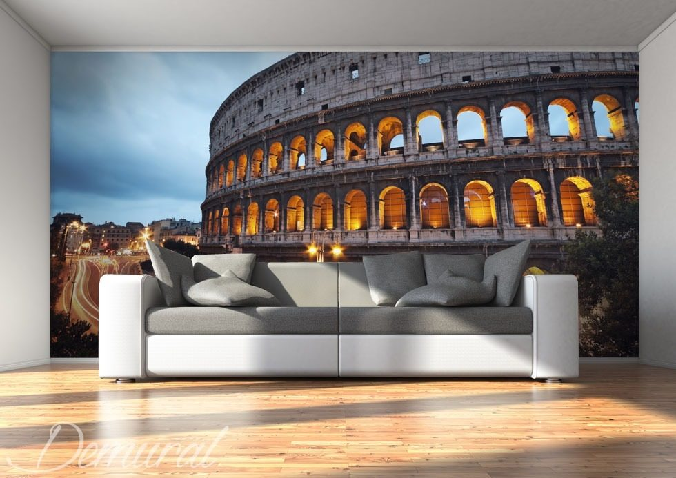 the coliseum in a dark colour architecture wallpaper