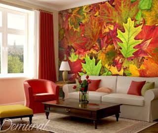leaves dancing with the colours patterns wallpaper mural photo wallpapers demural