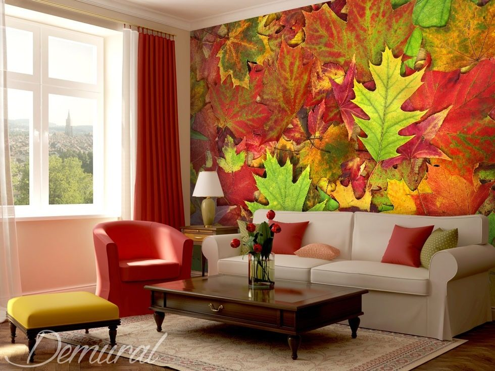 Leaves dancing with the colours. Patterns wallpaper mural Photo wallpapers Demural