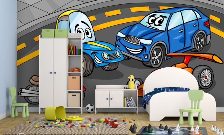 playing with cars boys room wallpaper mural photo wallpapers demural
