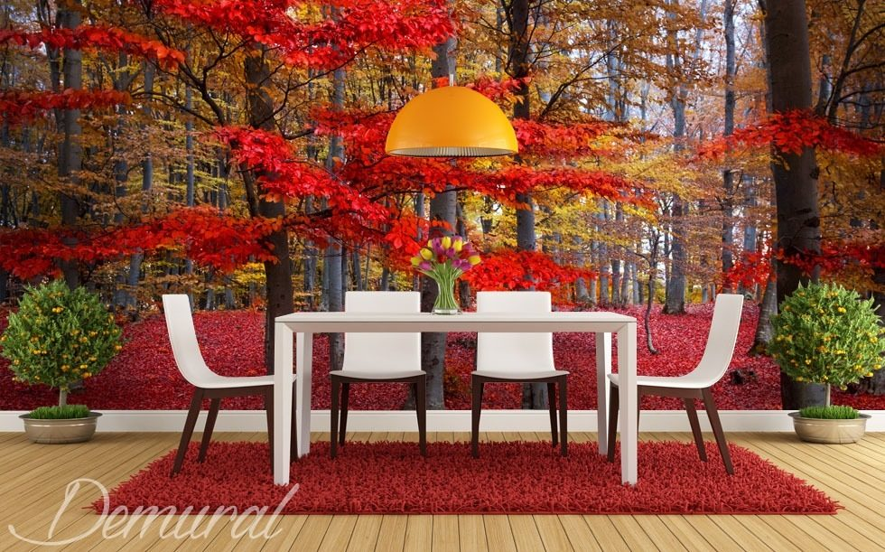 Red leaves on a tree Forest wallpaper mural Photo wallpapers Demural