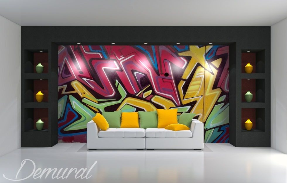 Colourful graffiti Graffiti wallpaper mural Photo wallpapers Demural