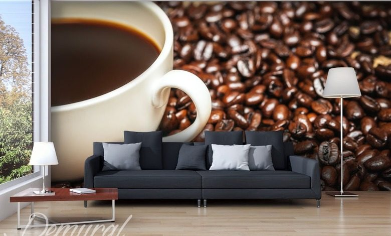 a cup of coffee on coffee coffee wallpaper mural photo wallpapers demural