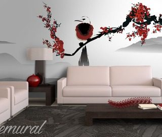 bird on a cherry tree oriental wallpaper mural photo wallpapers demural