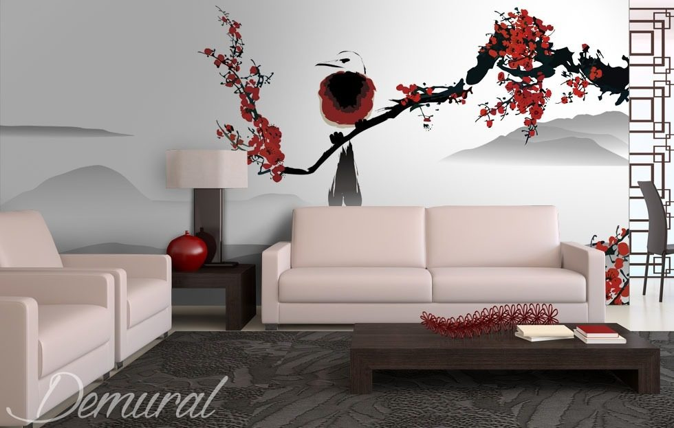 Bird on a cherry tree oriental wallpaper mural photo for Asian mural wallpaper