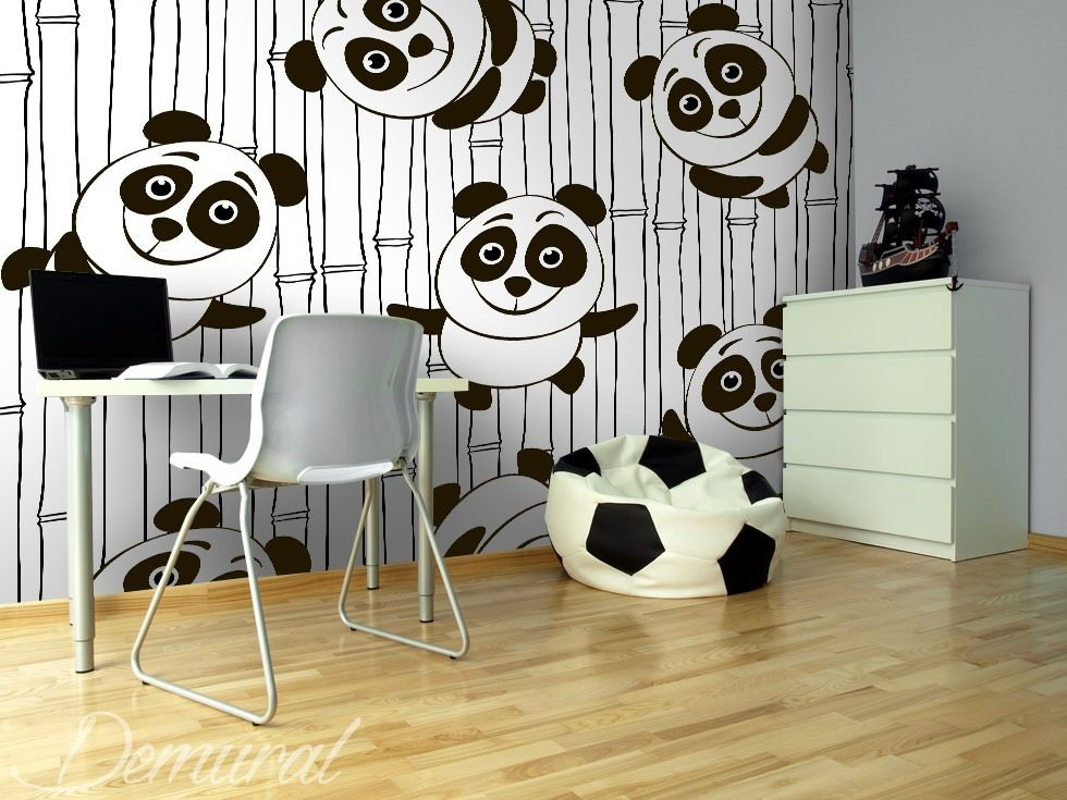 Happy pandas Oriental wallpaper mural Photo wallpapers Demural