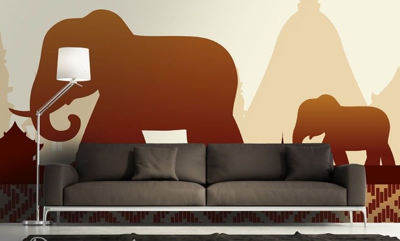 family of elephants oriental wallpaper mural photo wallpapers demural