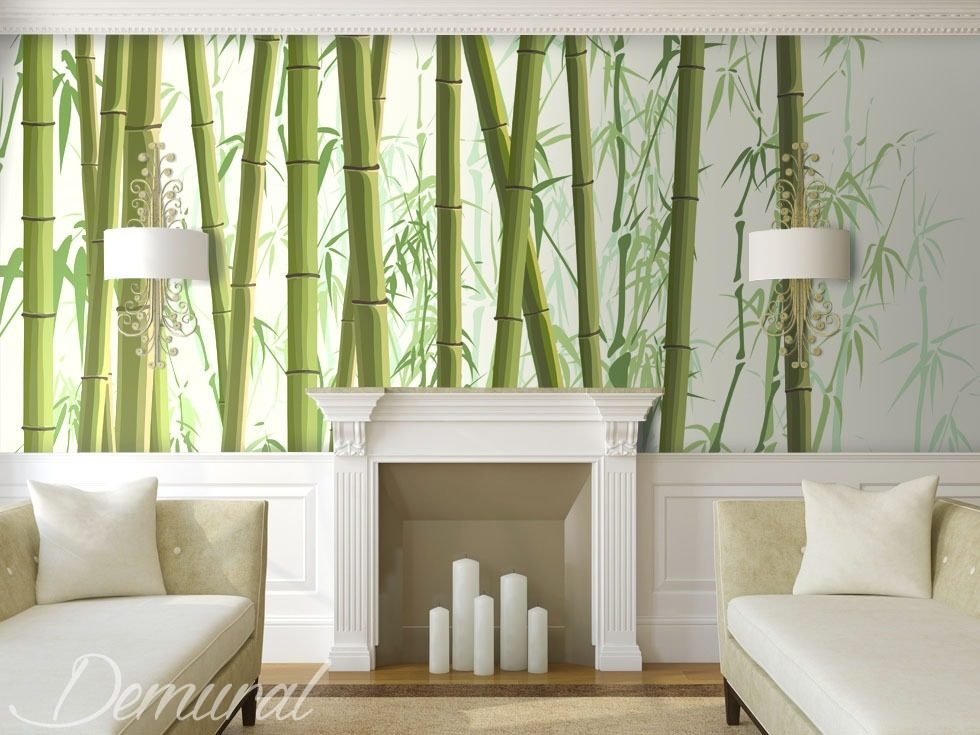 Among bamboos oriental wallpaper mural photo for Asian wallpaper mural