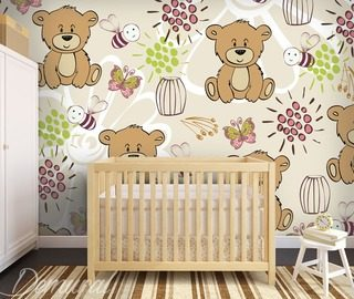 flying teddy bears childs room wallpaper mural photo wallpapers demural