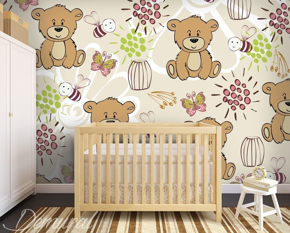 Flying teddy bears Child's room wallpaper mural Photo wallpapers Demural