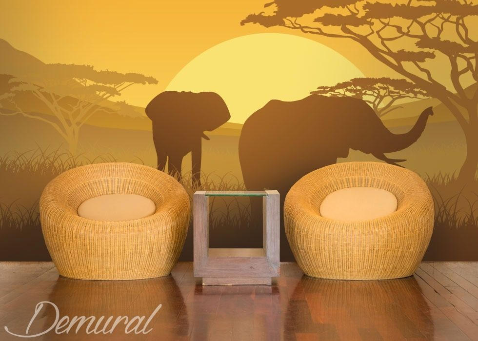 elephants on safari landscapes wallpaper mural photo wallpapers demural