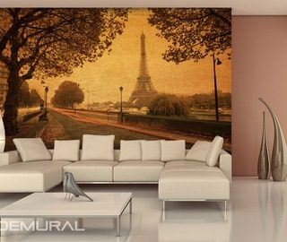 streets of paris eiffel tower wallpaper mural photo wallpapers demural