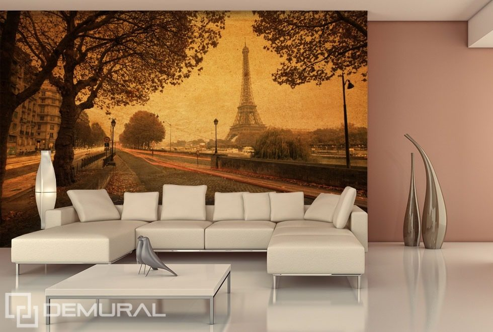 Streets of paris eiffel tower wallpaper mural photo for Eiffel tower wall mural black and white