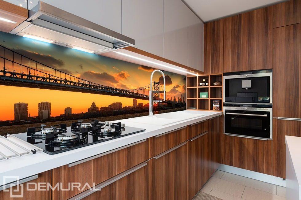 Bridge With Orange Sky Background Kitchen Wallpaper