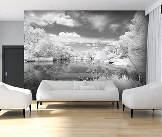 grey lake black and white wallpaper mural photo wallpapers demural