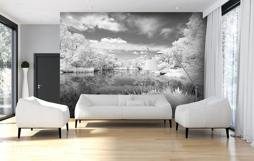 Grey lake black and white wallpaper mural photo for Black and white london mural wallpaper
