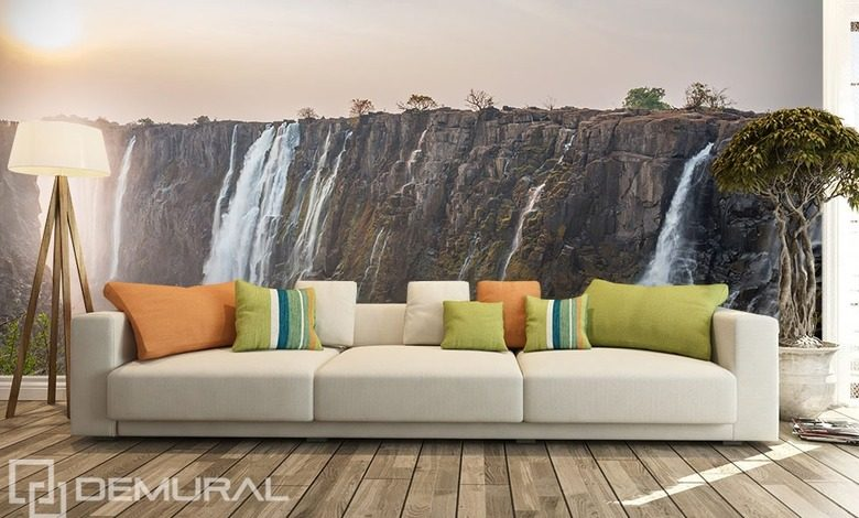 at the foot of the waterfall landscapes wallpaper mural photo wallpapers demural