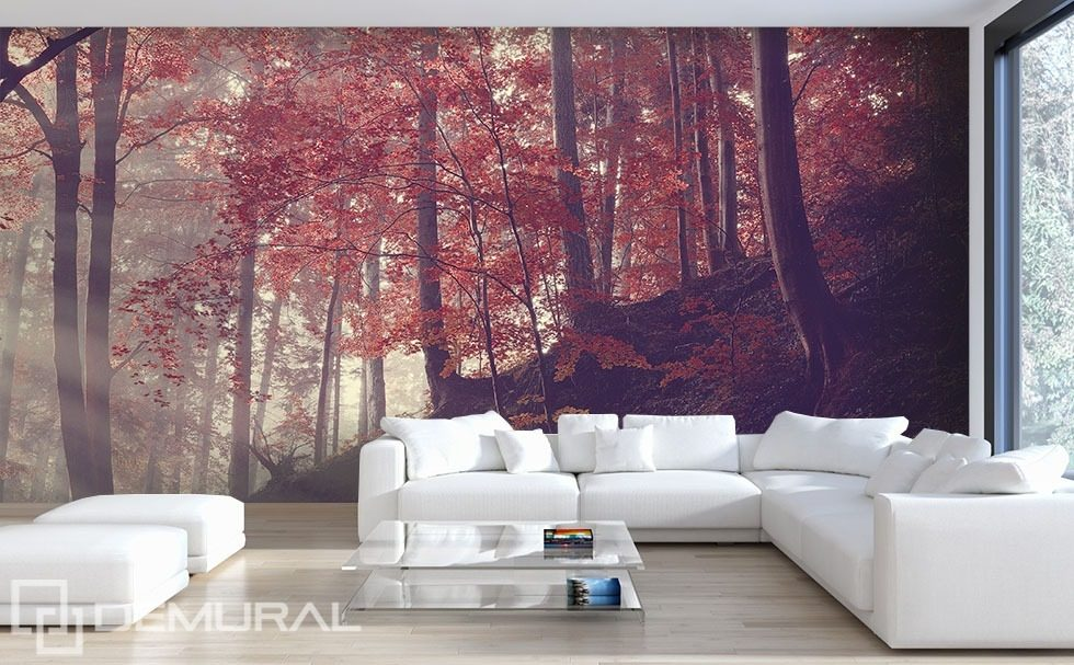 living room wall murals forest hillside living room wallpaper mural photo 12706