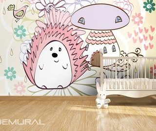 in a hedgehog land childs room wallpaper mural photo wallpapers demural
