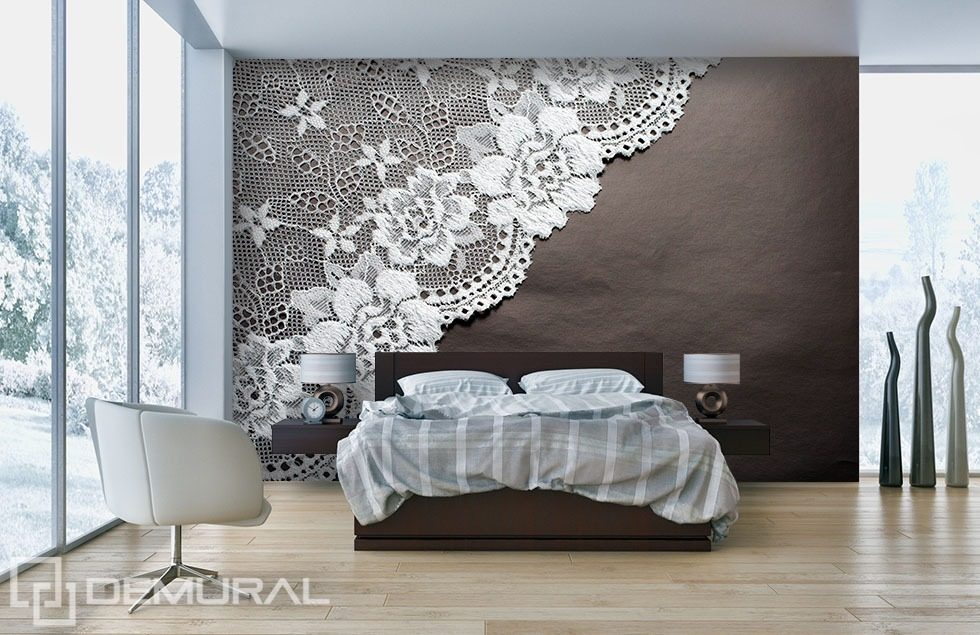 Lace dream bedroom wallpaper mural photo wallpapers for Wallpaper and paint ideas for bedroom