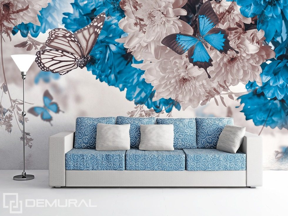 white blue nature flowers wallpaper mural photo wallpapers demural