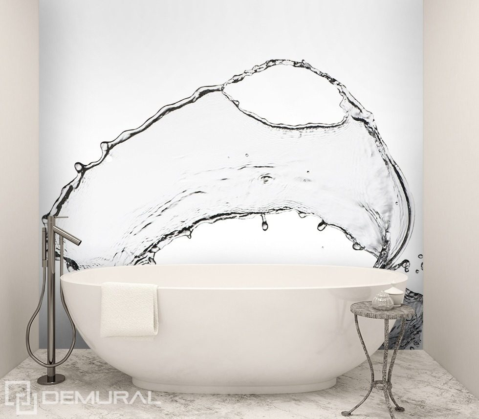 Splashing water bathroom wallpaper mural photo for Bathroom mural wallpaper
