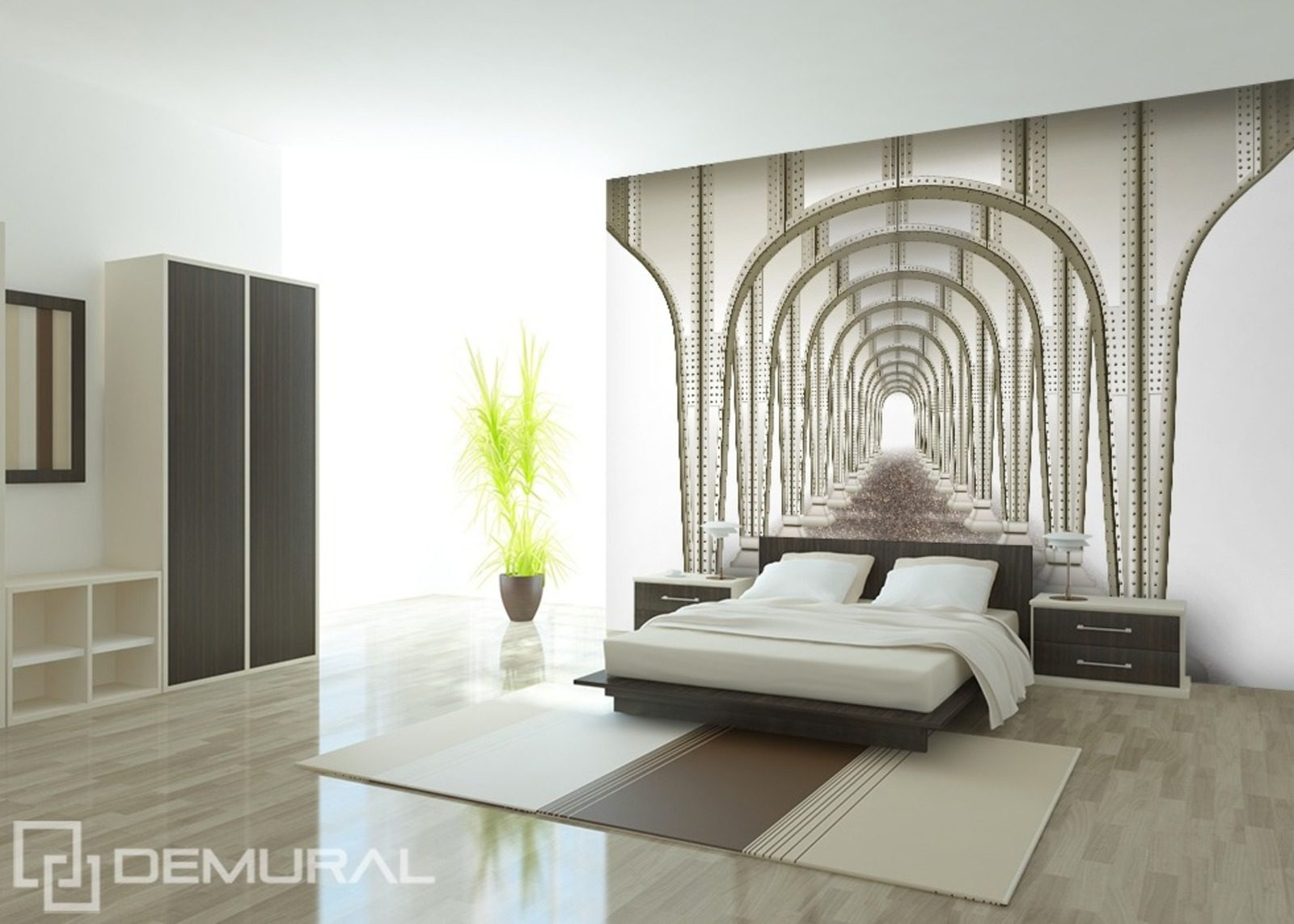 Symmetric tunnel wall murals and photo wallpapers for Meuble mural original