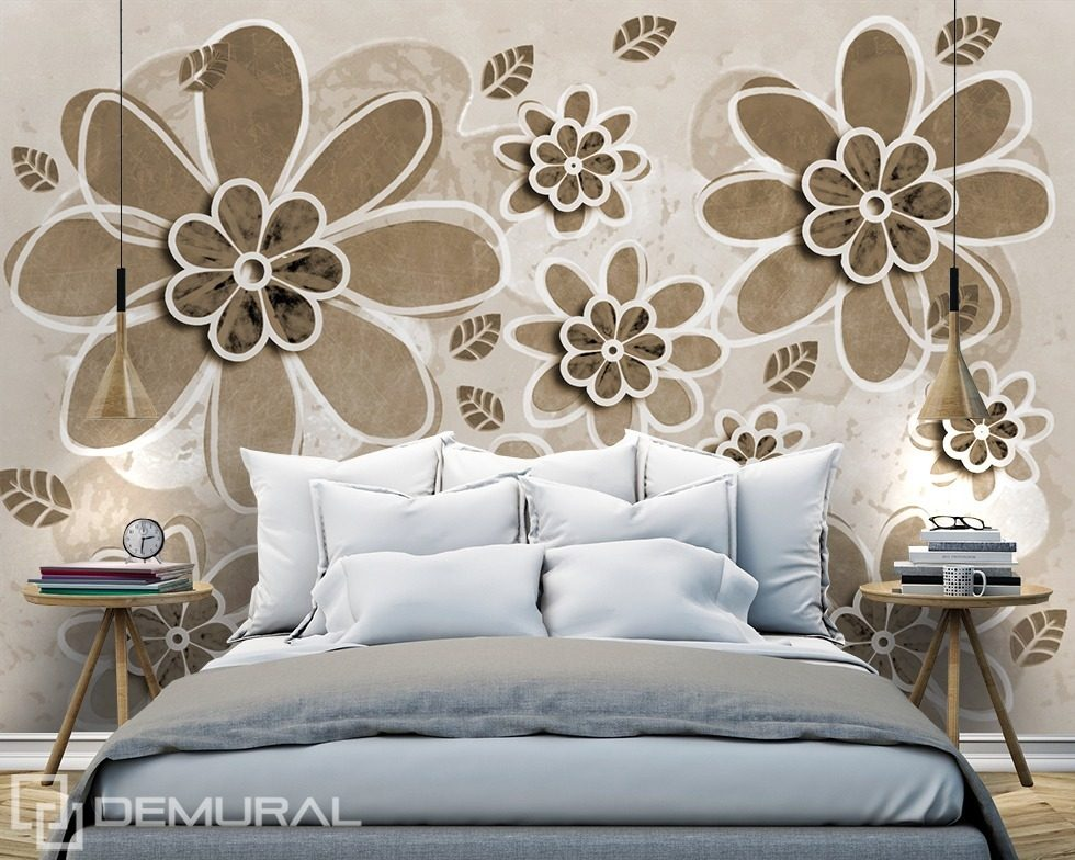 Draw some flowers for me Sepia wallpaper mural Photo wallpapers Demural