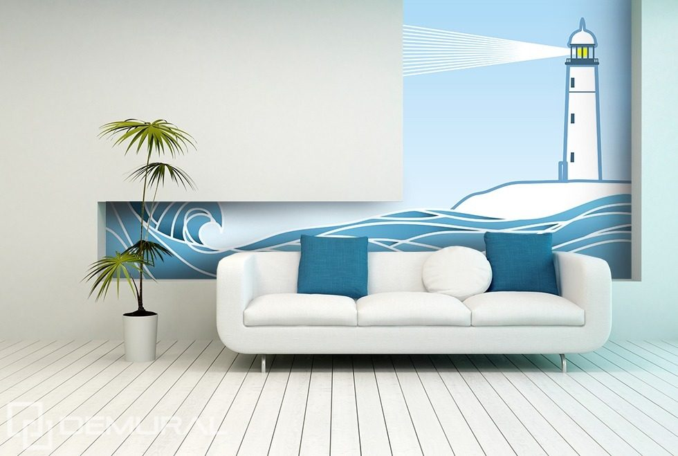 The light of the lighthouse Nautical style wallpaper, mural Photo wallpapers Demural