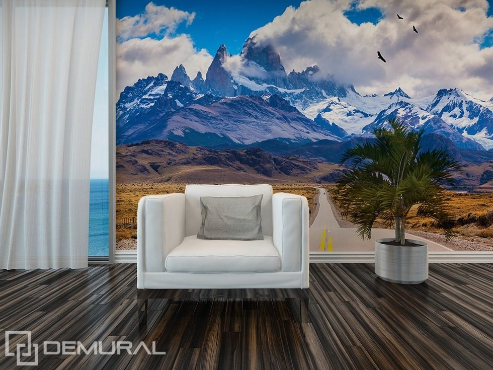 Highway to mountains Living room wallpaper mural Photo wallpapers Demural
