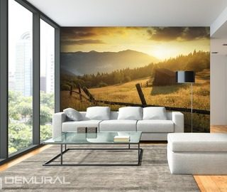 on a mountain pasture landscapes wallpaper mural photo wallpapers demural