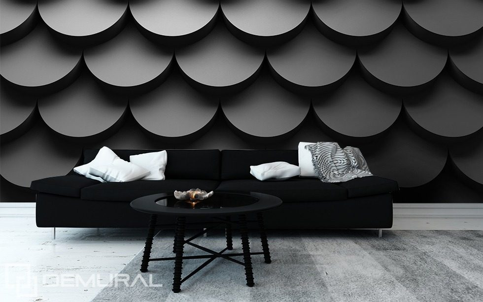Shadows of tiles Black and white wallpaper, mural Photo wallpapers Demural