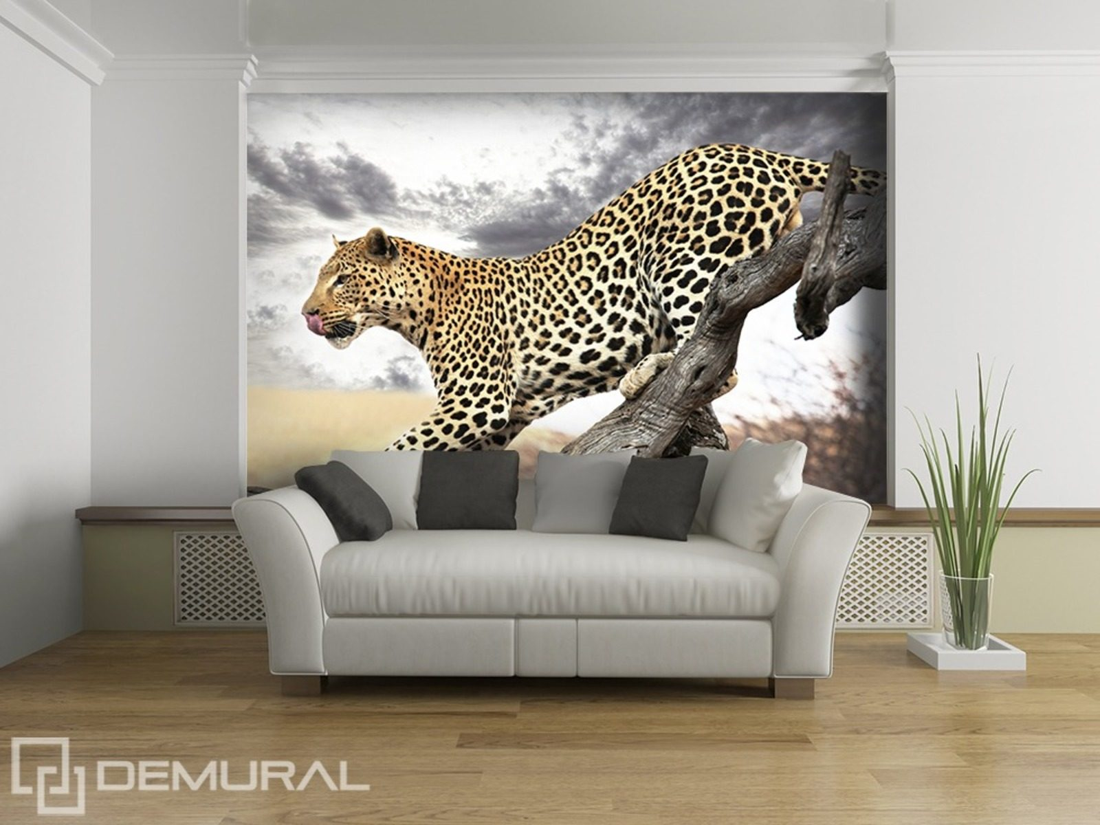 Jumping leopard animals wallpaper mural photo for Animal mural wallpaper