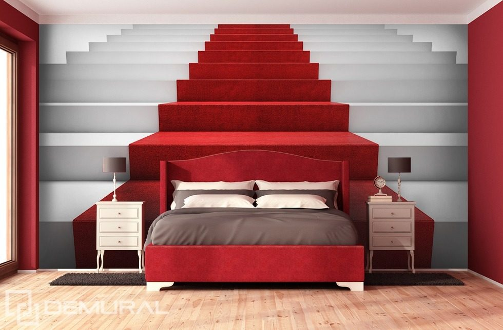 On a red carpet Staircase wallpaper mural Photo wallpapers Demural