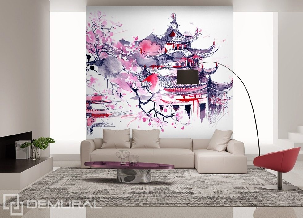 Land of the rising sun oriental wallpaper mural photo for Asian mural wallpaper