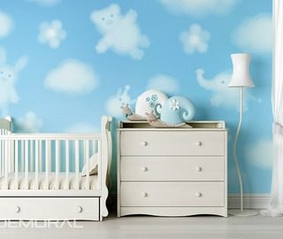 funny clouds childs room wallpaper mural photo wallpapers demural