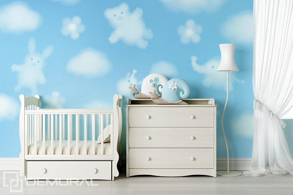 Funny clouds Child's room wallpaper mural Photo wallpapers Demural