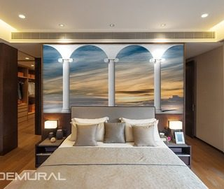 among lonic pillars bedroom wallpaper mural photo wallpapers demural