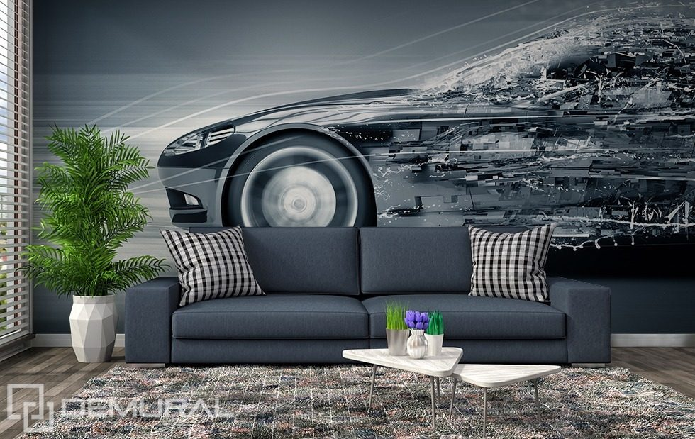 Metallic mobile monochromatic wall murals photo for Wallpaper mobile home walls