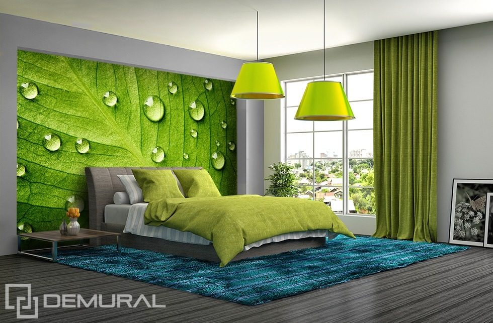 I feel the green walls with leafs bedroom wallpaper for Green bedroom wallpaper