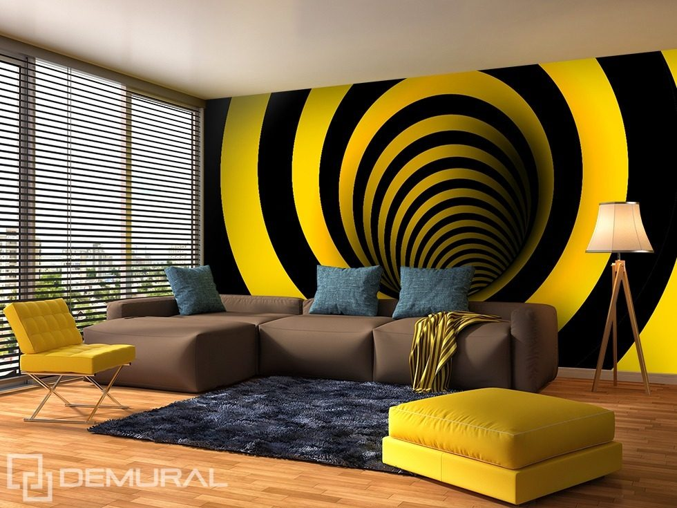 Curved in yellow and black optically magnifying for Black wall mural