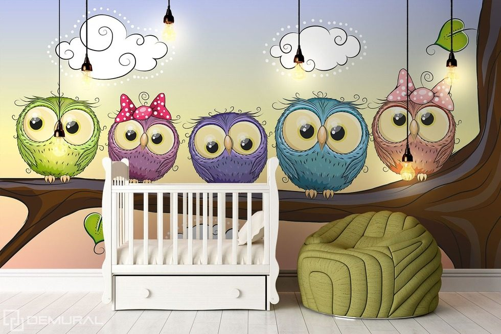 Owl watch - Horned owl for good night Child's room wallpaper mural Photo wallpapers Demural
