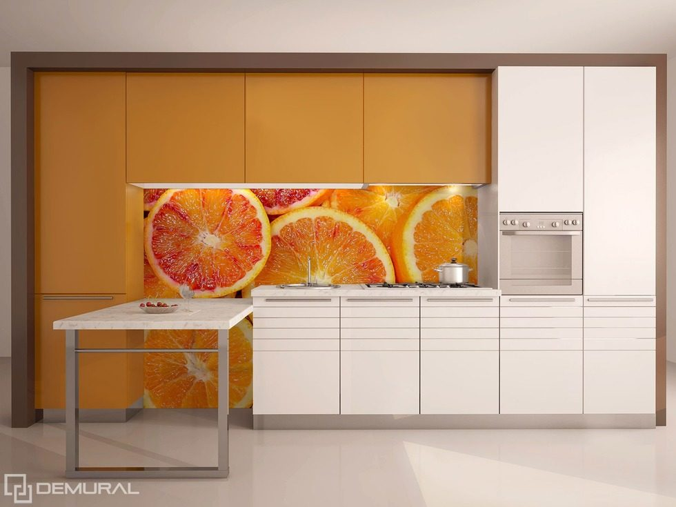 Juicy citruses on the wall kitchen wallpaper mural for 3d wallpaper for kitchen walls