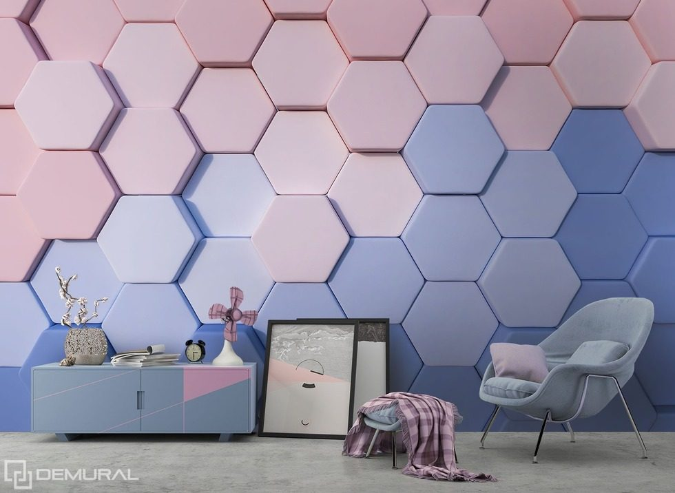 Colorful Honeycombs Three Dimensional Wallpaper Mural