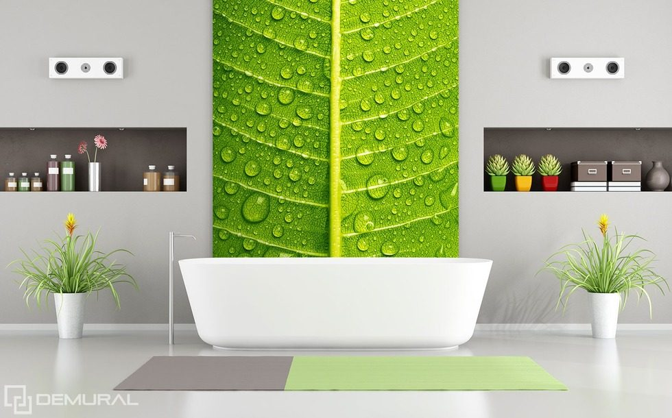 Green intimate close ups bathroom wallpaper mural for Bathroom mural wallpaper