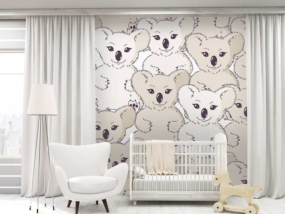 With Koala bear on the wall Child's room wallpaper mural Photo wallpapers Demural