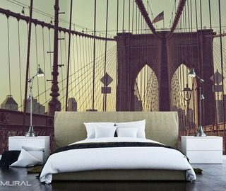 days and night on brooklyn bridge bridges wallpaper mural photo wallpapers demural