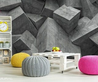 devil gray cubic idealism three dimensional wallpaper mural photo wallpapers demural