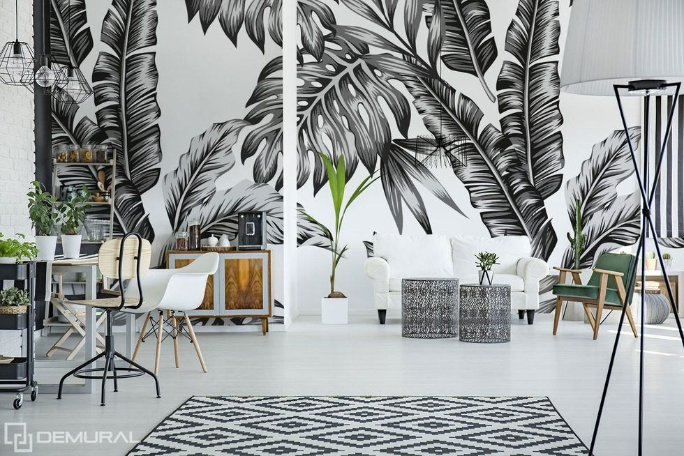 With a monochromatic accent Black and white wallpaper, mural Photo wallpapers Demural